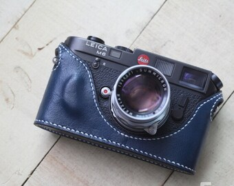 Handstitching Leica M6 MP Case, Leica M6 Leather Cameras Case, Leather Camera Half Case Protector