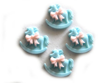 4 Large Blue Rocking Horse Flatbacks - Resin Cabochons