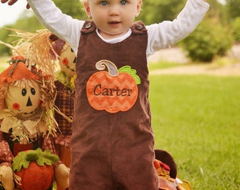 Brown Cord Pumpkin Longall,Thanksgiving Jon,Boys Thanksgiving Romper,Applique Embroidered Jon Jon Shortall Longall
