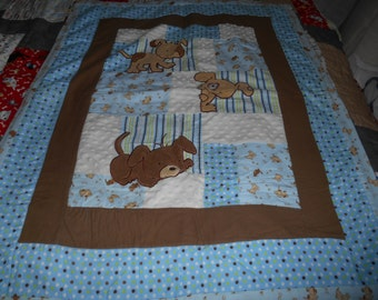 Baby quilt in blues and browns/ three puppies