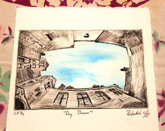 Day Dream, Etching Intaglio/Watercolor