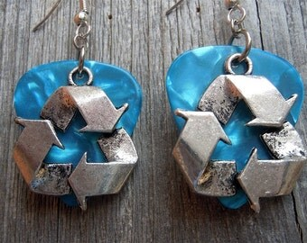 Recycle Symbol Charms Guitar Pick Earrings - Pick Your Color