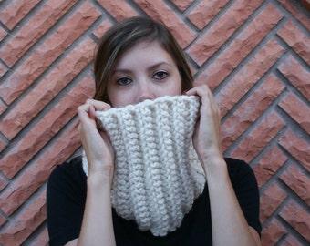 On SALE Crochet Cowl Scarf Womens Accessory Neutral Linen Wool Scarf Infinity Scarf Neckwarmer