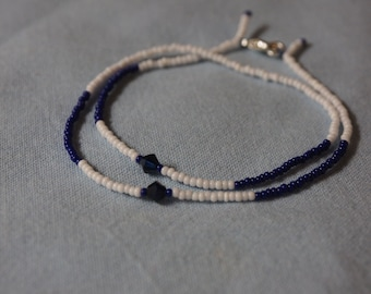 ISRAEL * bead wristband with 2 Swarowski crystals * handmade in Berlin * for him and her