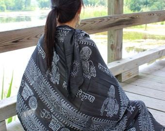 OM Yoga Black Cotton Shawl,NEPAL