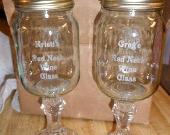 Custom Engraved Red Neck Wine Glass
