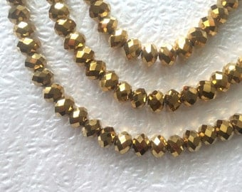 "16"" Chinese Glass 10mm Faceted Rondelle Beads – Metallic Gold AB"
