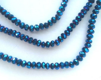 "16"" Chinese Glass 6mm Faceted Rondelle Beads – Metallic Blue AB"