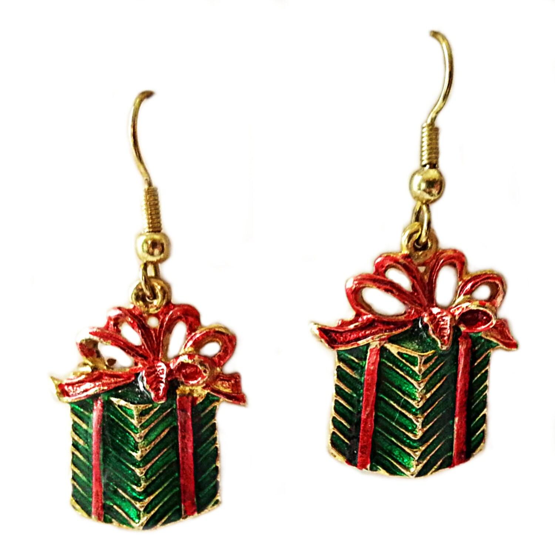 Christmas presents vintage earrings enamel gifts gold tone