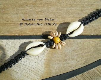 Sunflower - Shamballa Bracelet with a beautiful wooden SUNFLOWER and 2 Hawaiian Cowrie Shells