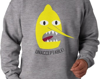 LEMON GRAB unacceptable sweatshirt. Inspired by the cult TV series Adventure Time, AWDis Sweatshirt . 80% cotton