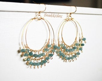 Colored beads hoop earrings