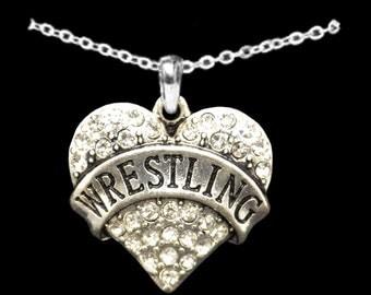 Wrestling Rhinestone Heart Necklace