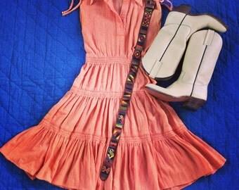 Vintage Apricot Orange Tiered Gauze Dress / 1970s / Shoulder Ties