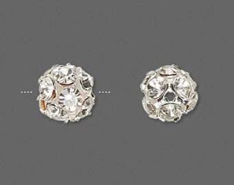 10pcs 6mm Jewellery Findings Rhinestone Beads,Clear rhinestone and silver plated brass,6mm ball with 1.5mm rhinestone,1mm hole.- MER0051