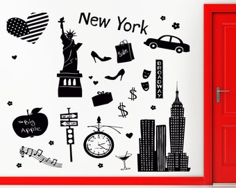 Wall Sticker New York Big Apple City United States The Coolest Decor z1519