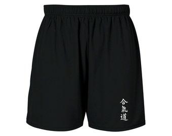 Aikido Kanji writing martial arts MMA customized sweat proof black shorts