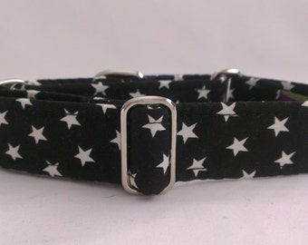 """Martingale Collar - Whippet, and Small to Medium Dog - 1"""" width - Black & White Stars"""