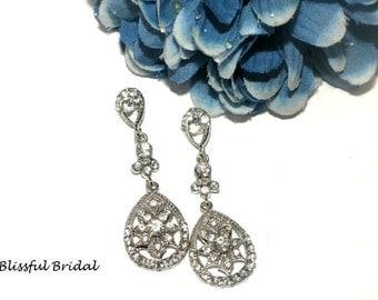 Wedding Drop Earrings, Vintage Bridal Earrings, Wedding Earrings, Wedding Earrings For Bride, Bridal Jewelry, Bridal Earrings