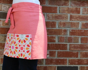 Linen Half Apron in Coral with Coral Graphic Pocket by s/f Designs