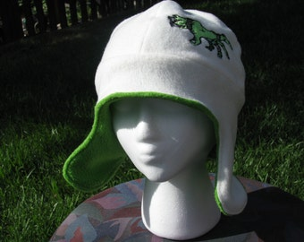 Zombie Cream and Lime Fleece Ear Flap Hat