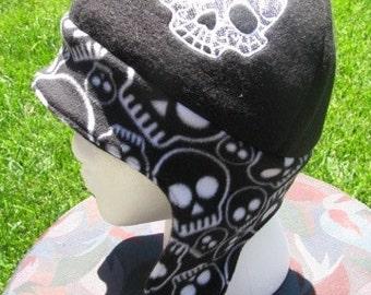 Reversible Skull Print Fleece Ear Flap Hat