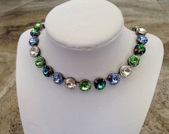 12mm swarovski crystal necklace - green and blue - GREEN LAGOON