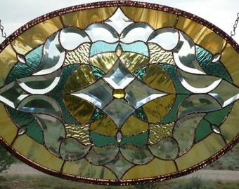 "Stained Glass Window Panel "" BEVELED ELEGANCE"" #1 beveled glass, antique glass, antique jewels,shimmering ripples,suncatcher,wedding gift"