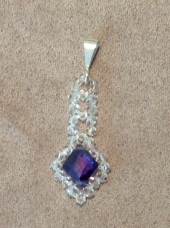 Handcrafted Pendant Sterling Silver Cubic Zirconia Swarovski Crystal CL621