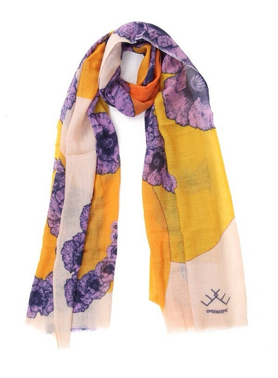 POPPY orange & purple scarf