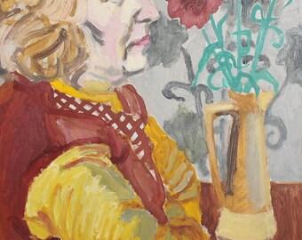 Vintage woman portrait oil painting expressionism