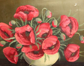 Vintage oil painting still life with poppies flowers