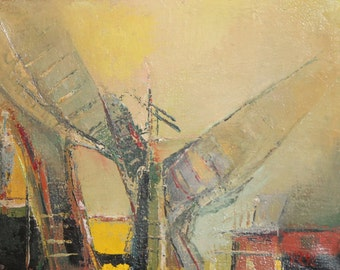 1992 Avant garde landscape oil painting signed