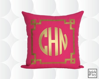 Monogram Throw Pillow Cover -  Gold or Silver - Chinoise Greek Monogram Pillow Cover Fuchsia Pink