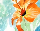 Hibiscus - Watercolor original painting 9x12 inches matted, ready for framing