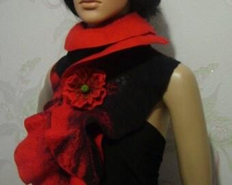 Felted wool scarf-Nuno felted scarf-Felted scarf-Red Black scarf