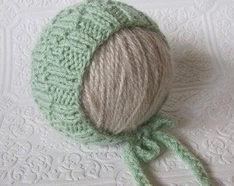 Diamond Brocade Bonnet - Knitting Pattern - Newborn -