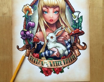 Follow the White Rabbit - Color Print