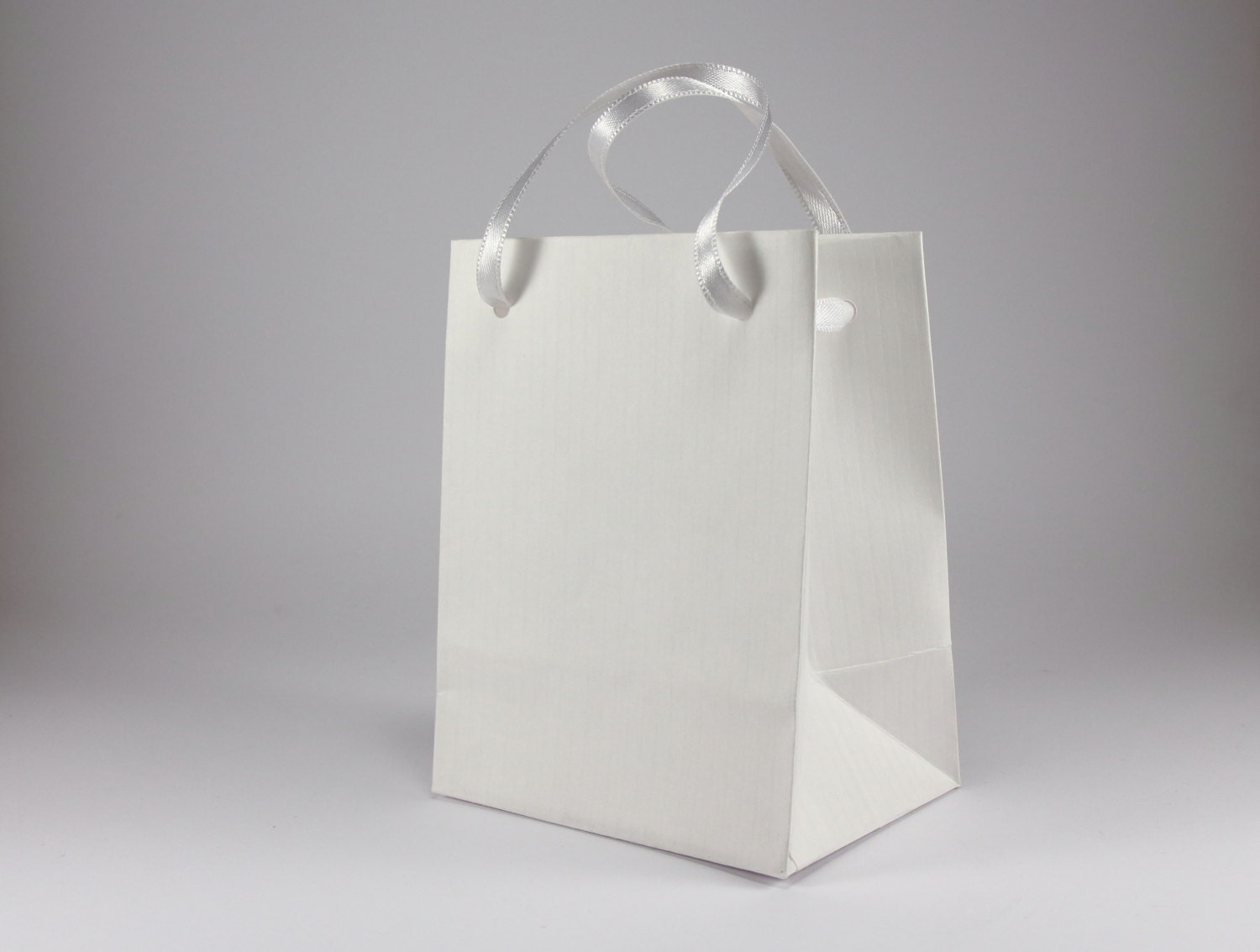 50 Extra Small WHITE Gift Bags handmade of White Ribbed Paper