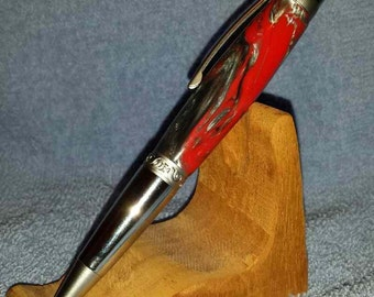 Manhattan Satin Chrome/Chrome Red/Silver Swirl Pen