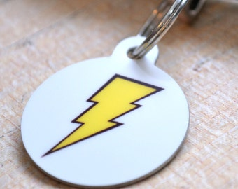 Lightning Bolt Pet ID Tag - Dog Tag, Key Chain, Pet Identification