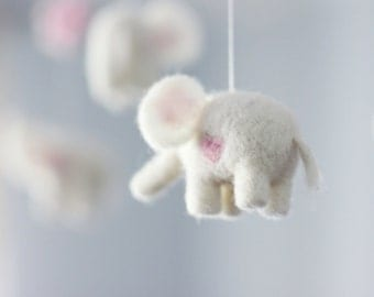 Baby Mobile - Needle Felted Elephant Mobile, Nursery Decor, Baby Shower Gift