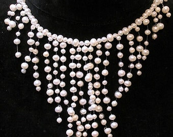 Shanghai Necklace:  White Fresh Water Pearls