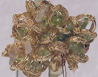"""Brazil Ring """"Brillo 2"""" Wired Brass with Green and White Stones"""