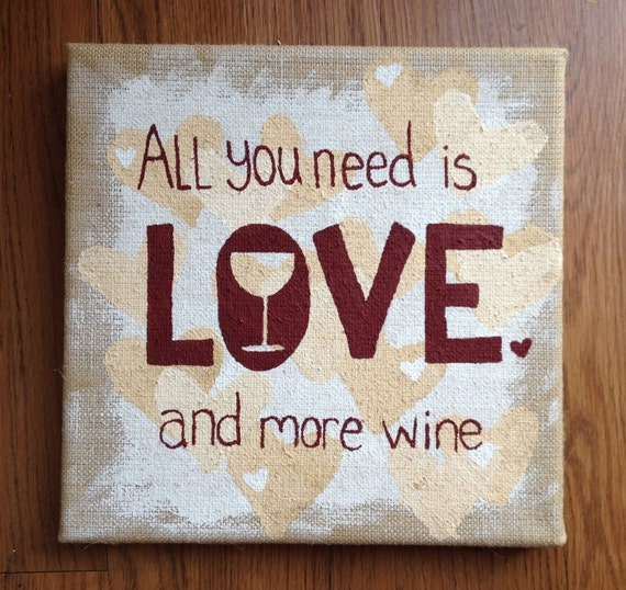 Items similar to love wine painting on rustic burlap for Wine and painting mn