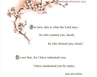 This is what the Lord says (Isaiah 43: 1). Printable Bible Scripture Illustration - digital PDF file.