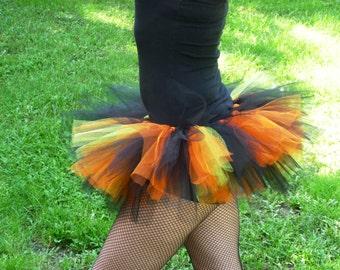 Adult Halloween Tutu~ Adult Tutu~ Rave Tutu~ Black Green Sparkle Orange Tulle~ Runner Tutu~ ~ Custom Sizes Infant, Child, Teen, Adult