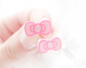 Pink Bows Earrings, Cute Bow Studs, Pink Girly Earrings, Cute Earrings for Girls