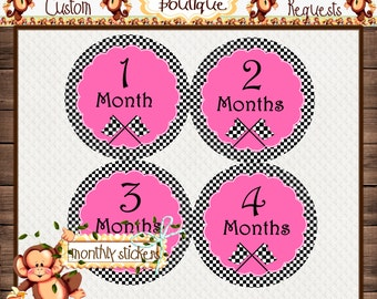 Racing Monthly Baby Milestone Stickers Baby Girl One-Piece Baby Stickers Monthly Baby Stickers Baby Month Stickers  {M167}