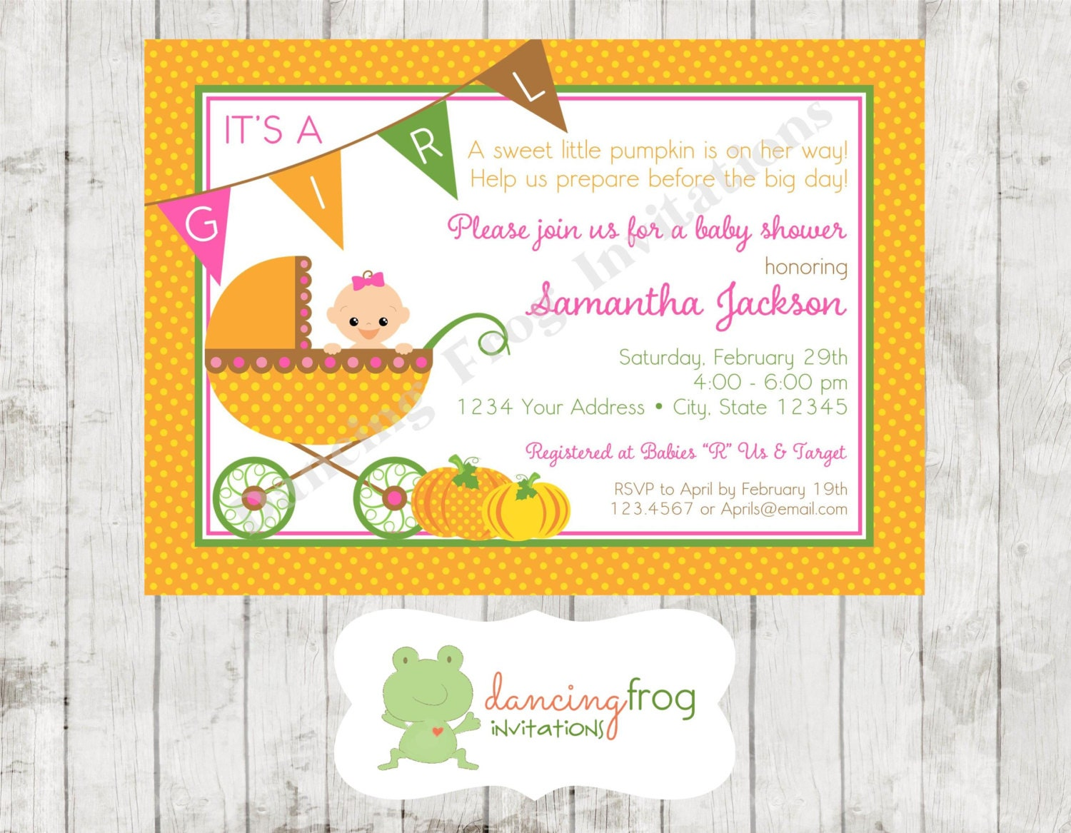 pumpkin fall baby shower shower invitation by dancingfroginvites